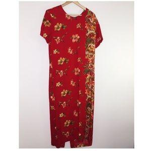 Vintage Red Floral Tiger dress